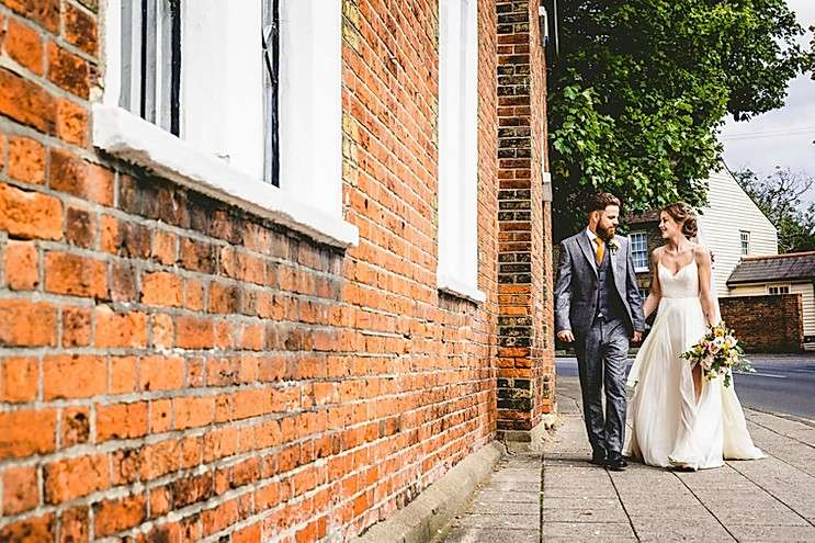 A bride and groom at The Old parish Rooms