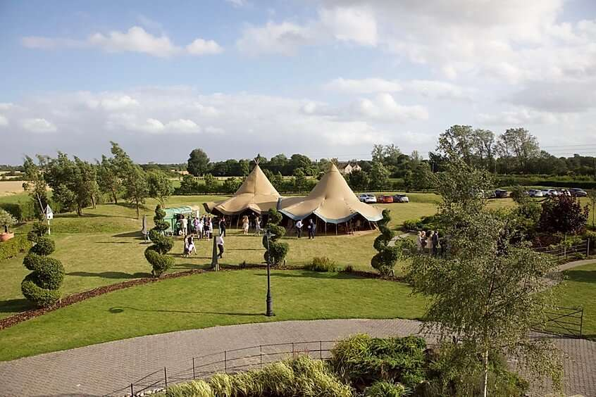 tipi setup in the grounds of little tey barn