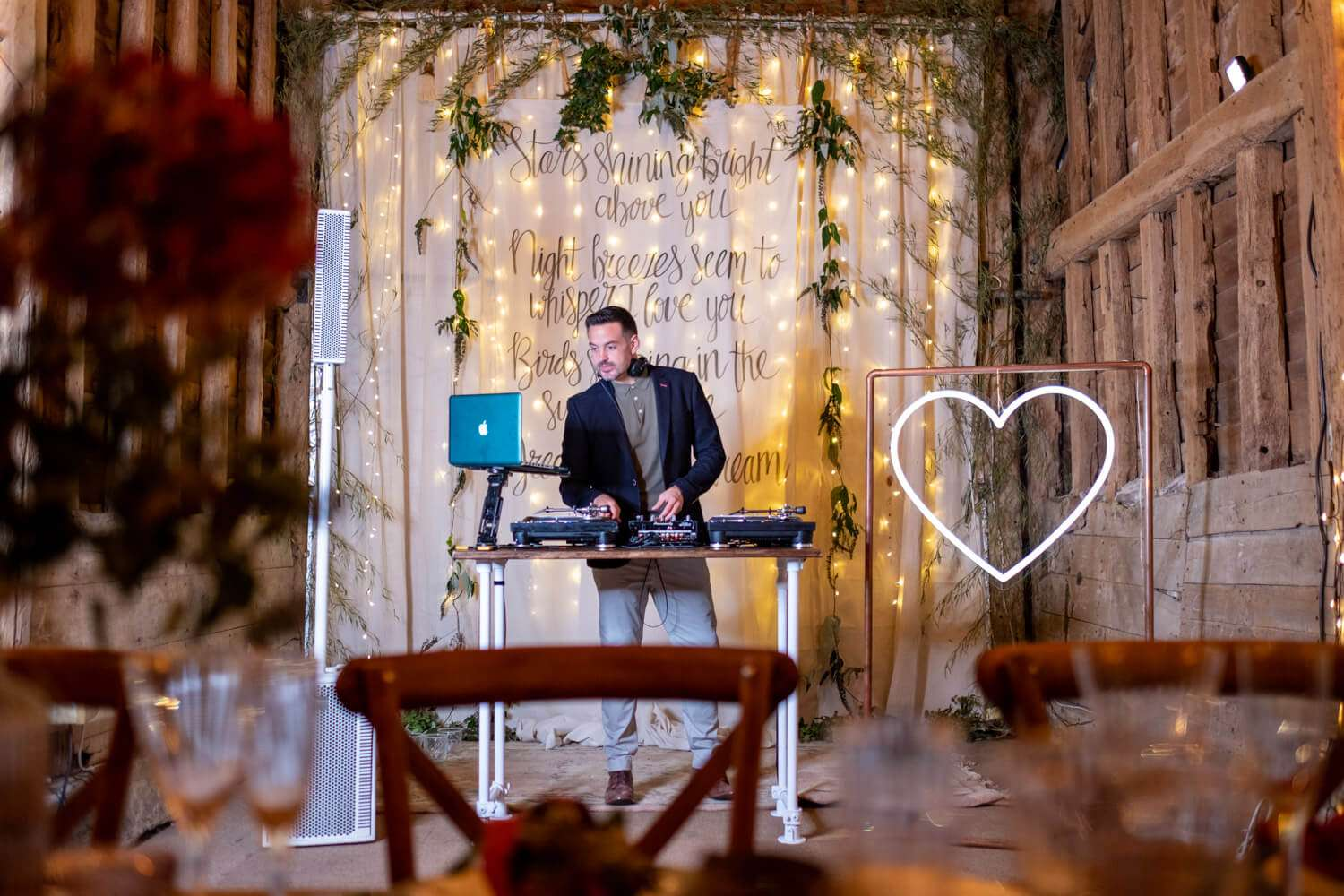 A dj at a Micro wedding in Essex